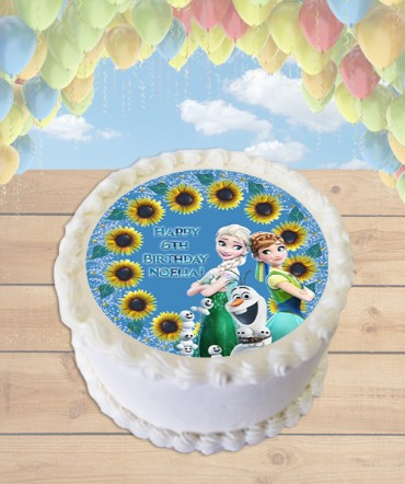 Frozen Fever Edible Frosting Image Cake Topper Sunflowers [ROUND]