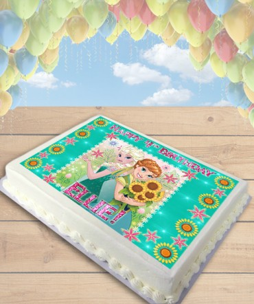Frozen Fever Pink Flowers Edible Frosting Image Cake Topper [SHEET]