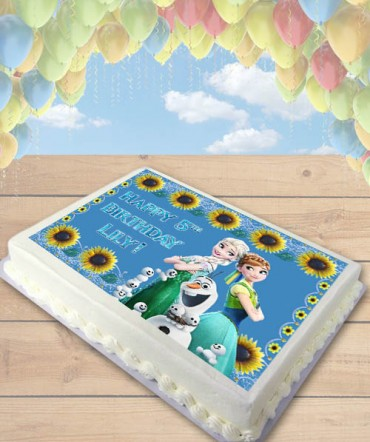 Frozen Fever Edible Frosting Image Cake Topper Sunflowers [SHEET]