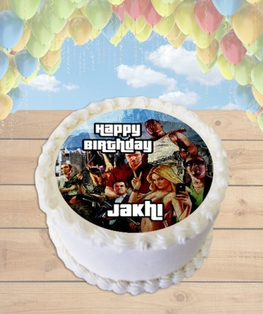 Grand Theft Auto V Edible Frosting Image Cake Topper [ROUND]
