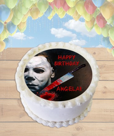 Halloween Michael Myers Horror Edible Frosting Image Cake Topper [ROUND]