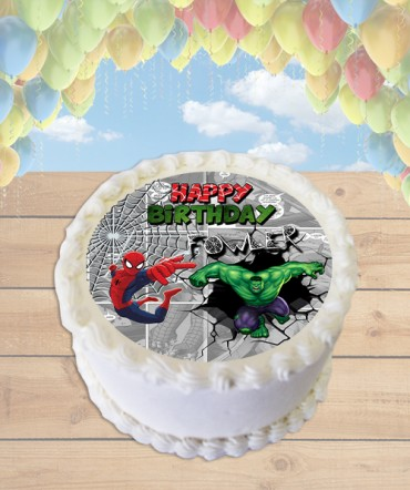 Hulk and Spiderman Comic Strip Edible Frosting Image Cake Topper [ROUND]