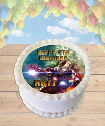 Iron Man Edible Frosting Image Cake Topper [ROUND]
