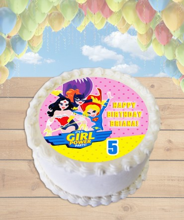 Justice League Girls Edible Frosting Image Cake Topper [ROUND]