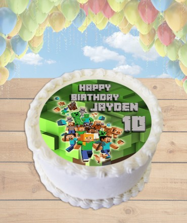 Minecraft Blocks Edible Frosting Image Cake Topper [ROUND]