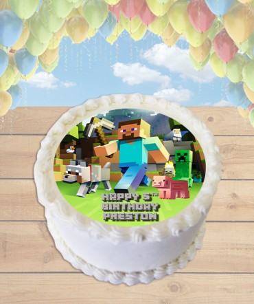 Minecraft Steve Edible Frosting Image Cake Topper [ROUND]