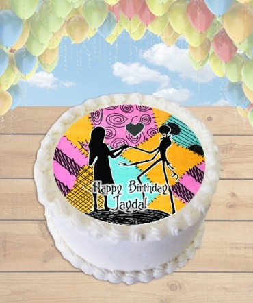 Nightmare Before Christmas Silhouette Edible Frosting Image Cake Topper [ROUND]
