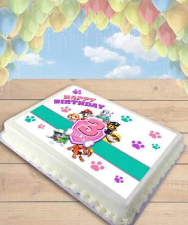 Paw Patrol Badge Pink Edible Frosting Image Cake Topper [SHEET]