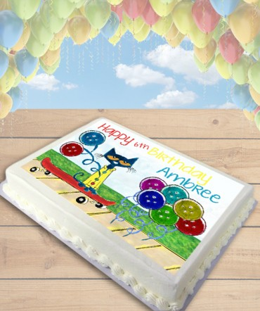 Pete the Cat Groovy Buttons Edible Frosting Image Cake Topper [SHEET]