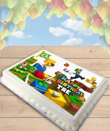 Super Mario 3D Land Luigi Edible Frosting Image Cake Topper [SHEET]