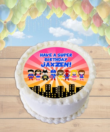 Superheroes Clipart Edible Frosting Image Cake Topper [ROUND]
