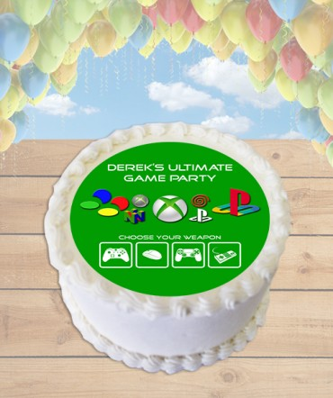 Video Game Console Edible Frosting Image Cake Topper [ROUND]