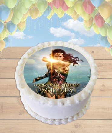 Wonder Woman 2017 Movie Edible Frosting Image Cake Topper [ROUND]