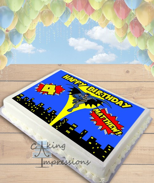 Batman Edible Image Sheet Cake Topper