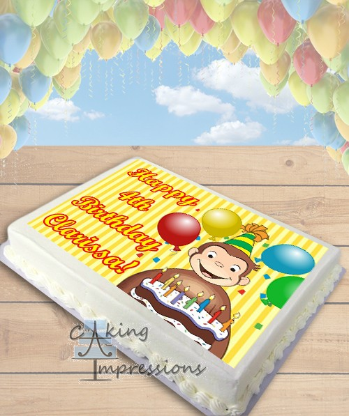Edible Cake Decorations Sheets : Curious George Edible Image Sheet Cake Topper