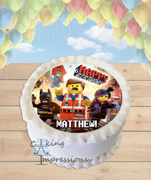 Edible Cake Images Review : The Lego Movie Edible Image Round Cake Topper
