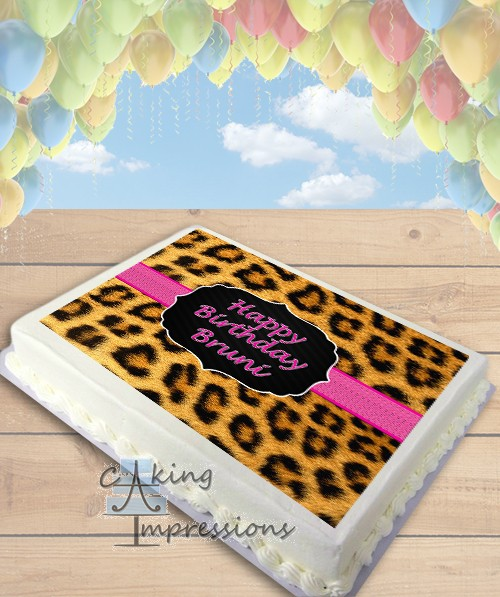 Print Edible Cake Images : Leopard Print Edible Image Sheet Cake Topper