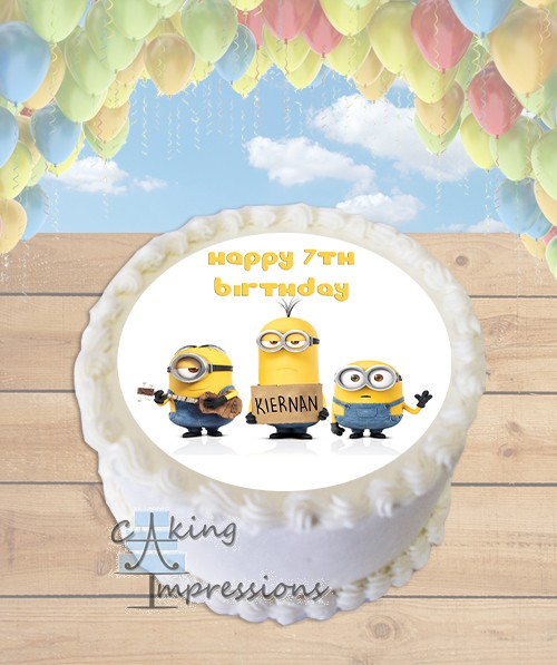 Minions Edible Image Round Cake Topper