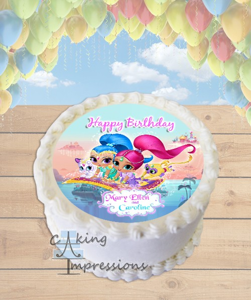 shimmer and shine edible image round cake topper